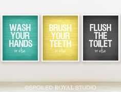Or Else Bathroom Prints Set Of 3 You Can Choose Color Teal Yellow Grey Funny Humor Posters Via Etsy