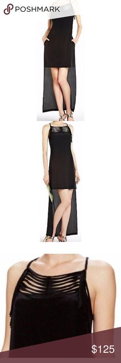 """BCBG """"tamsyn"""" Hi Low Black Party Dress M $308 New - tags removed to prevent store return BCBG Dresses High Low"""