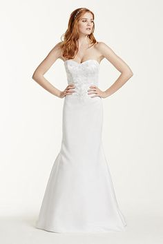 Satin Sweetheart Wedding Dress with Lace Applique WG3715