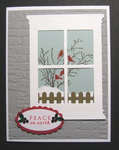 card christmas window SU Serene Silhouettes, Grand Madison Window, MFT Fence Die, SU Oval Punches, Sizzix Brick E F Christmas Cards To Make, Xmas Cards, Holiday Cards, Serene Silhouettes, Memory Box Cards, Window Cards, Hearth And Home, Bird Cards, Stamping Up Cards