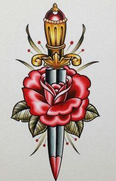 'Sailor Jerry Traditional Tattoo - Rose and Dagger' by ArtForArtSakeT Tattoos 3d, Kunst Tattoos, Neue Tattoos, Trendy Tattoos, Body Art Tattoos, Girl Tattoos, Traditional Flash, Neo Traditional Tattoo, American Traditional
