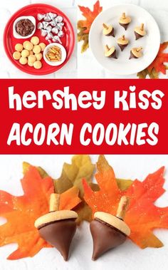 Acorn Cookies Recipe with Hershey's Kisses! Easy Fall treat both kids and adults will LOVE! All you'll need are 15 minutes and 4 ingredients to create these divine little treats… Easy Appetizer Recipes, Yummy Appetizers, Dessert Recipes, Easy Thanksgiving Recipes, Fall Recipes, Cheesecake Truffles Recipe, 5 Ingredient Desserts, Acorn Cookies, Cheap Easy Meals
