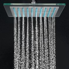 Features:  -Shape: Square.  -Chrome finish.  -Luxury rainfall style.  -Ultra thin and solid construction.  -High-power precision nozzles.  -Angle adjustable and 360 degree swivel adapter. Dimensions: