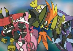 These Pokemon are the guardian deities of Alola, the Tapus. Not in order,  they are Tapu Koko, Tapu Lele, Tapu Bulu, and Tapu Fini, and they are based  off of ...