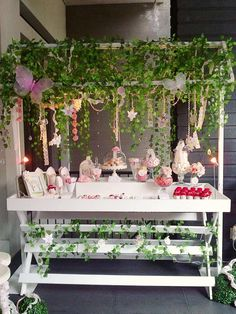 'Enchanted Garden Fairy Party' Birthday Party - very cute gardeny table set-up