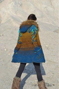 Crochet Patterns Coat Princess of Persia by Artika – SAShE. Crochet Jacket, Crochet Cardigan, Crochet Shawl, Crochet Baby, Knit Crochet, Freeform Crochet, Coat Patterns, Crochet Fashion, Crochet Clothes
