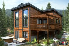 Designer, Zen / Contemporain, Bordure de lac / Chalet   LAP0362   Maison Laprise - Maisons pré-usinées
