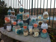VINTAGE WEDDING VASES Rustic Chic Decor : Rustic Farm House and Shabby Chic/Burlap Lace Mason Jar style Vases. $175.00, via Etsy.