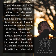 These cries were not for the tame, they were the kind that leave you dehydrated, exhausted and cleansed; a tear-filled purge that comes from deep inside. I would not have wished this feeling on anyone, including my worst enemy. I was never going to get back the piece of my broken heart that Alex took with him when he left, and that was something I had to learn to live with.