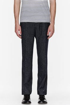 SACAI Navy mottled twill Trousers