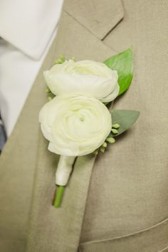 Clearwater Beach, Florida Double White Ranunculus Boutonniere