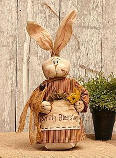 New Country Primitive Tea Stained SPRING BLESSINGS BUNNY Easter Doll With Chick