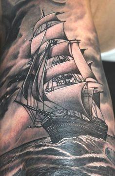 black grey ship tattoo - Google Search