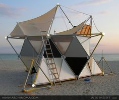 Y-Bio Beach House, an unusual tetrahedral module tent. Source: http://www.archinoma.com/index.php/eng/?p=205=1=1=1=1