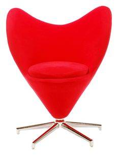 Retro Modern Heart Chair (Red Chair)  Description:  1960's Vintage Panton Style with red cloth upholstery.