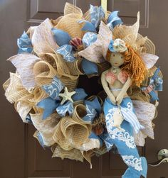 Summer Deco Mesh Wreath Beach Deco Mesh by FestivalofWreaths, $110.00