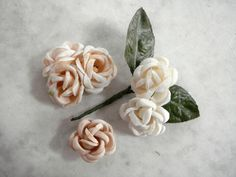 Vintage 1950's millinery flower 3 piece assorted rosebuds 1 with leaves