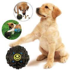 Pet Dog Chew Treat Food Holder Quack Sound Giggle Squeaky Play Training Ball  #Unbranded
