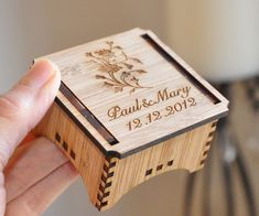 Personalised CUSTOM RING BEARER BOX RUSTIC BAMBOO WOOD Laser Cut WEDDING | eBay