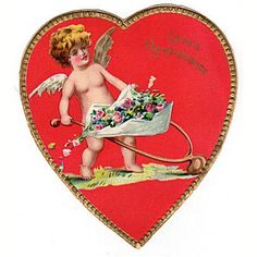 Vintage Raphael Tuck Valentine Card Red Heart with Cherub and Flowers Gold Border