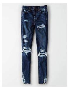 Shop American Eagle for Women's High-Waisted Jeans that look as good as they feel. Browse jeggings, skinny jeans, Curvy jeans and more in the high-waisted fit you love. Cute Ripped Jeans, Ripped Jeggings, Ripped Jeans Outfit, Denim Pants, Pantalones American Eagle, American Eagle Jeans, Mens Smart Casual Trousers, Teddy Jacket Womens, Heels Outfits