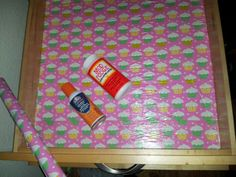 DIY contact paper!  Wrapping paper, spray adhesive and mod podge!