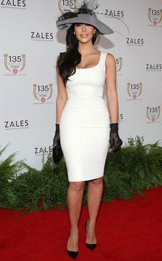 Hats Off! from Kim Kardashian's White Dresses  She got into the spirit at the 2009 Kentucky Derby.