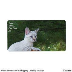 White Savannah Cat Shipping Label