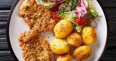 Weniger Fleisch essen ist gut für die Umwelt und die Gesundheit. Mit unserem Rezept für vegetarische Schnitzel fehlt euch garantiert nichts auf dem Teller und eure Kinder werden sie lieben. Easy Healthy Recipes, Tandoori Chicken, Tofu, Teller, Recipies, Curry, Food And Drink, Veggies, Low Carb