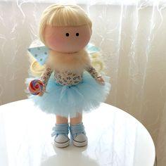 Купить Интерьерная кукла - нежно-голубой, принцесса, кукла-девочка, блондинка, кеды, белый ангел