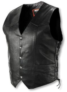 Interstate Leather Men's Basic Vest with Side Lace.