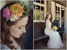 Stunning real floral headband & bouquet by @Huckleberry Karen