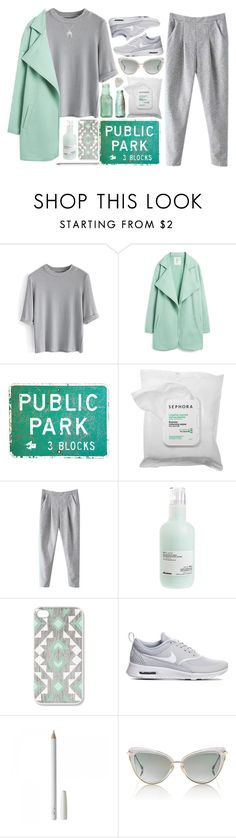 """Mint Flavored Whipped Cream"" by jasminekt ❤ liked on Polyvore featuring Chicwish, Pazzo, Sephora Collection, Davines, NIKE, Dita, grey and mint"