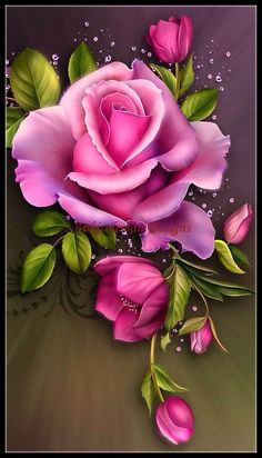 Pink Rose - Counted Cross Stitch Patterns - Printable Chart PDF Format Needlework Embroidery Crafts DIY DMC color in 2019 Art Floral, Love Rose, Counted Cross Stitch Patterns, Cross Stitches, Flower Wallpaper, Pink Wallpaper, Fabric Painting, Tole Painting, Beautiful Roses