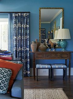 Santa Barbara Design House // beautiful layers of color, texture and pattern in the family room by Mary McDonald