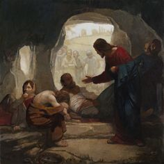 """Christ Among the Lepers by J. Kirk Richards. """"Jesus reached out his hand and touched the man. 'I am willing,' he said. 'Be clean!' Immediately he was cured of his leprosy."""" Matthew 8:3"""