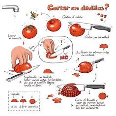 El truco para picar un tomate en daditos. | 17 Datos gráficos sobre comidas que todo el mundo necesita en su vida