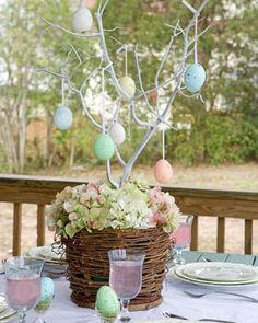 An egg tree center piece to complete the table setting.