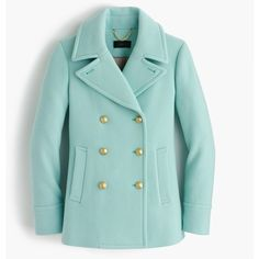 J.Crew Petite majesty peacoat ($210) ❤ liked on Polyvore featuring outerwear, coats, jackets, belted pea coat, green pea coat, fur-lined coats, wool peacoat and wool pea coat