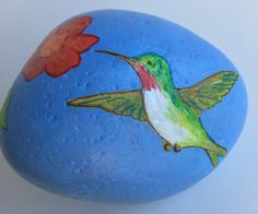 Hummingbird with trumpet vine painted rock by AlisonsArt on Etsy,