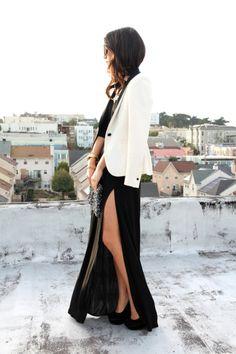 cream blazer + black jersey dress, thigh-high slit. love.