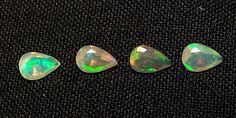 6x4 MM Insane Metallic Fire Play Ethiopian Welo Opal Faceted Pear 4 Pcs Parcel #ShineStarInternational