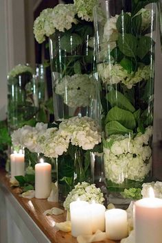 not quite right, but i like the idea Greenery Centerpiece, Floral Centerpieces, Wedding Centerpieces, Wedding Decorations, Deco Floral, Floral Design, Tall Floral Arrangements, Enchanted Florist, Wedding Renewal Vows