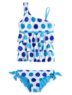 Twin Print Dot Tiered Tankini Swimsuit | Tankinis | Swimsuits | Shop Justice