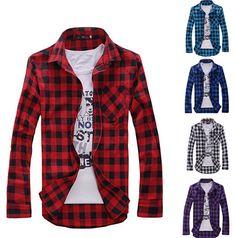 4 colores de primavera de manga larga de los hombres de la camisa a cuadros tops camisa informal