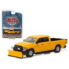 2014 Dodge Ram 1500 Pickup Truck Tradesman Construction with Snow Plow and Salt Spreader Blue Collar Collection 1 1/64 Diecast Model by Greenlight