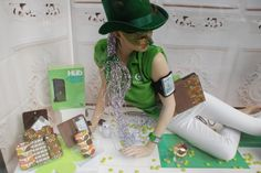 St. Patricks day window for cell phone and accessories store, Mega Mobile in Boston