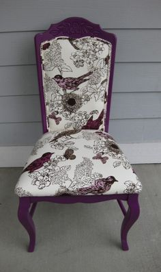 Juicy plum chair by Rubbish Rehab, featuring upholstery fabric from Thomas Paul Designs.