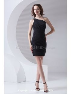 Chiffon Asymmetrical Neckline Sheath Short Directionally Ruched Cocktail Dress