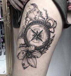 Afbeeldingsresultaat voor tattoo rozen kompas